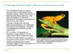 a message from the frogs blaustein and dobston nature 2006
