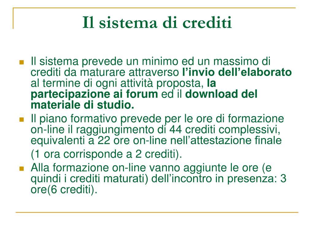 Il sistema di crediti