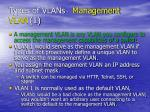 types of vlans management vlan 1