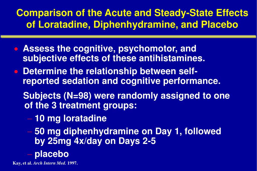 Comparison of the Acute and Steady-State Effects of Loratadine, Diphenhydramine, and Placebo