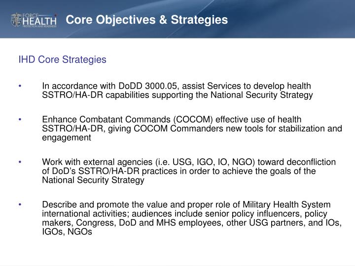 Core Objectives & Strategies