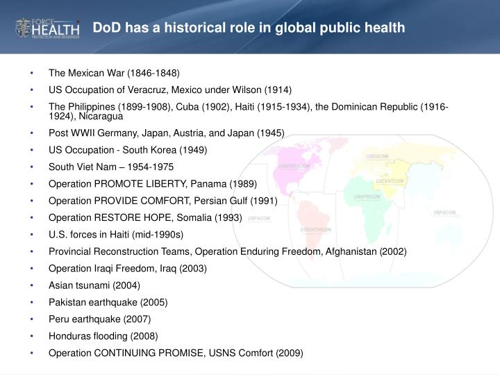 DoD has a historical role in global public health
