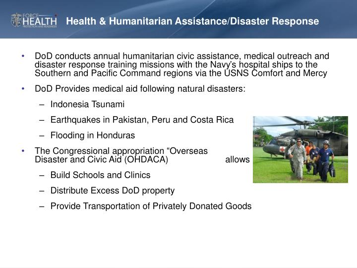 Health & Humanitarian Assistance/Disaster Response