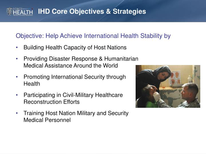 IHD Core Objectives & Strategies