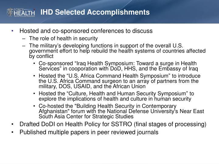 IHD Selected Accomplishments