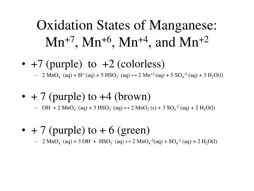 Oxidation States of Manganese:
