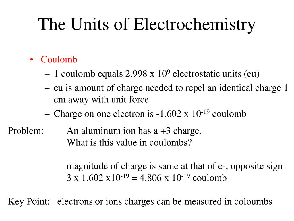 The Units of Electrochemistry
