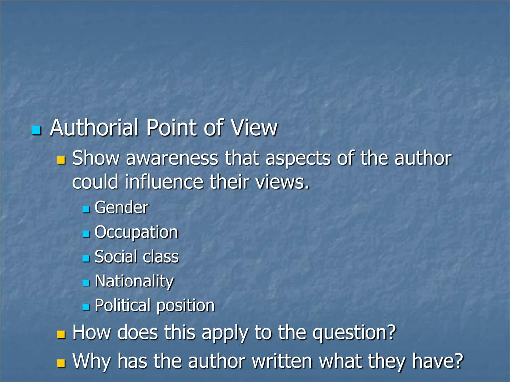 Authorial Point of View
