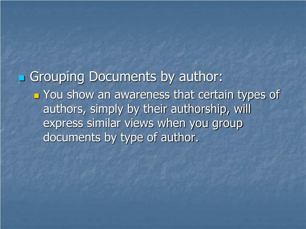 Grouping Documents by author: