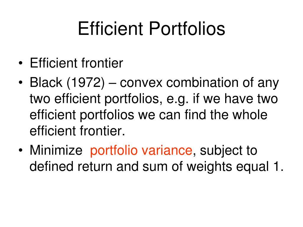 Efficient Portfolios