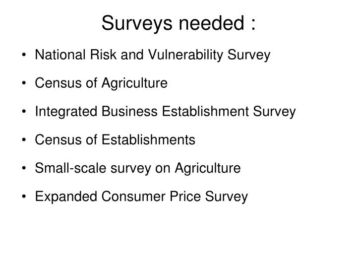 Surveys needed :
