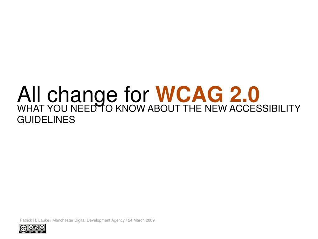 all change for wcag 2 0