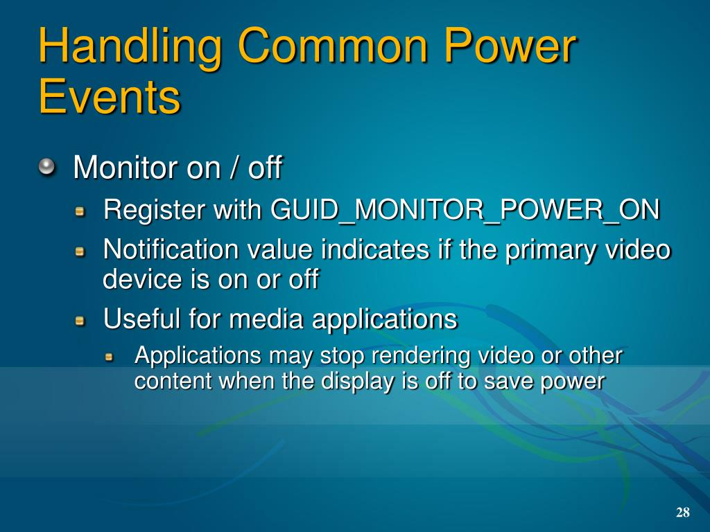 Handling Common Power Events