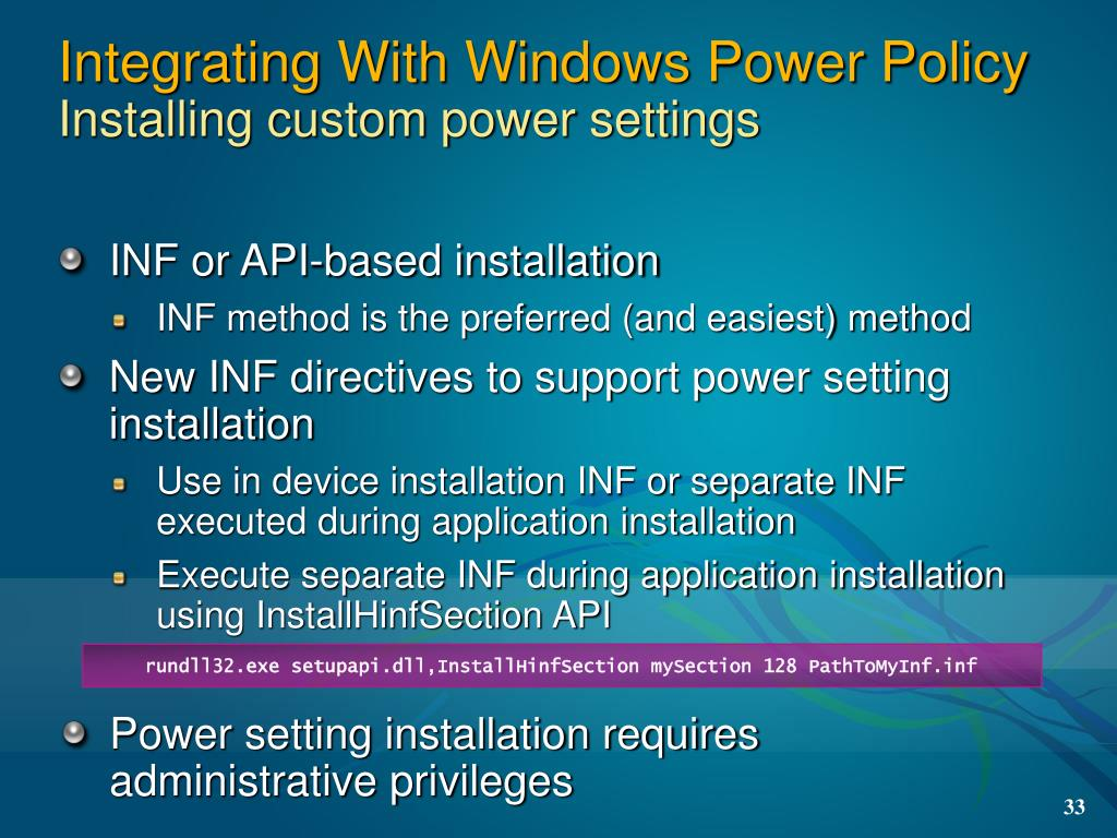 Integrating With Windows Power Policy