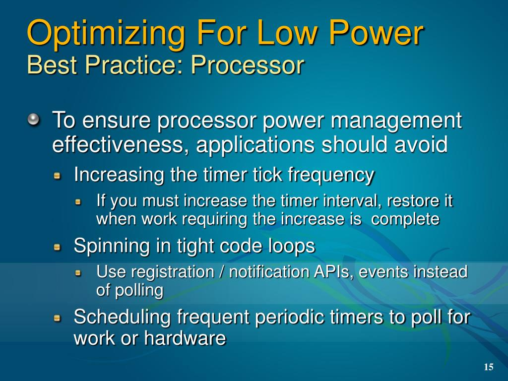 Optimizing For Low Power