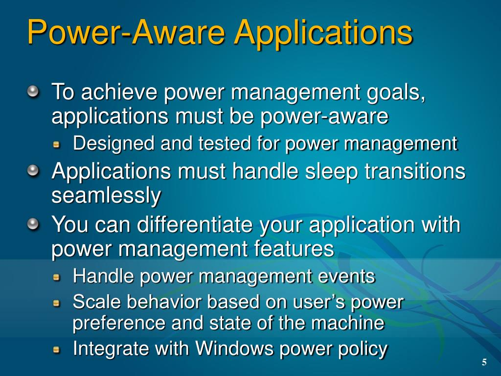 Power-Aware Applications