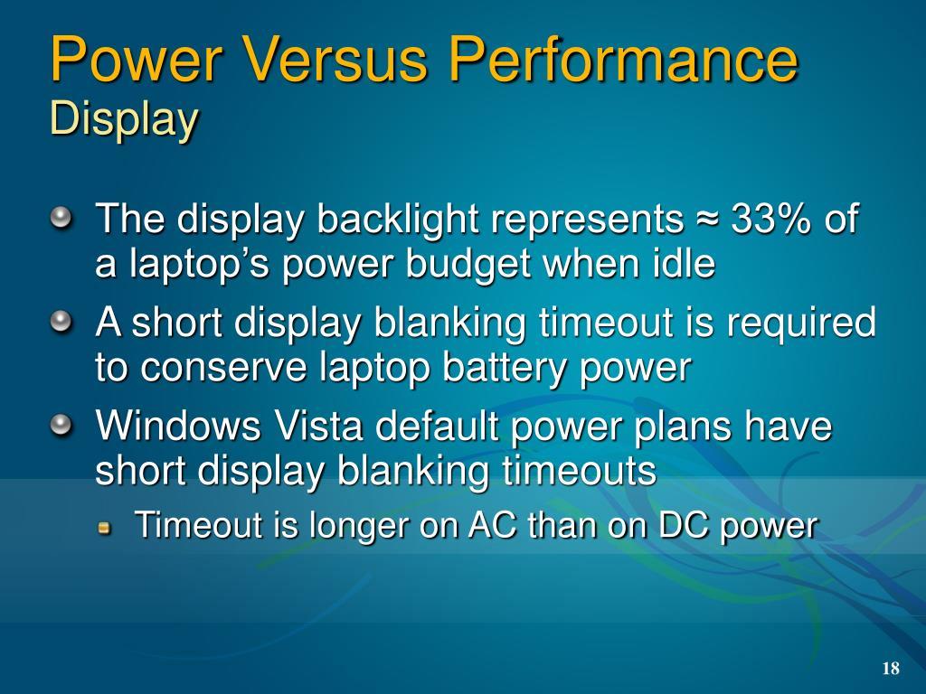 Power Versus Performance