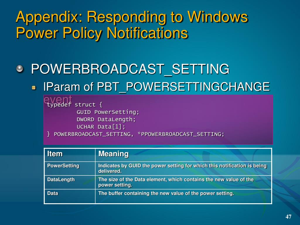 Appendix: Responding to Windows Power Policy Notifications