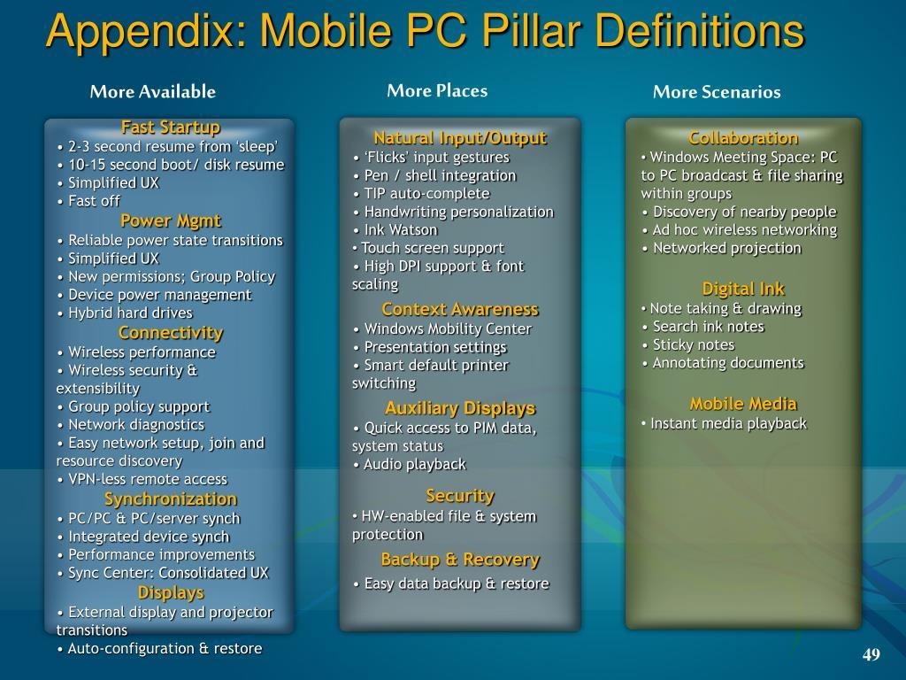 Appendix: Mobile PC Pillar Definitions