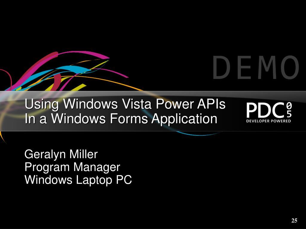 Using Windows Vista Power APIs