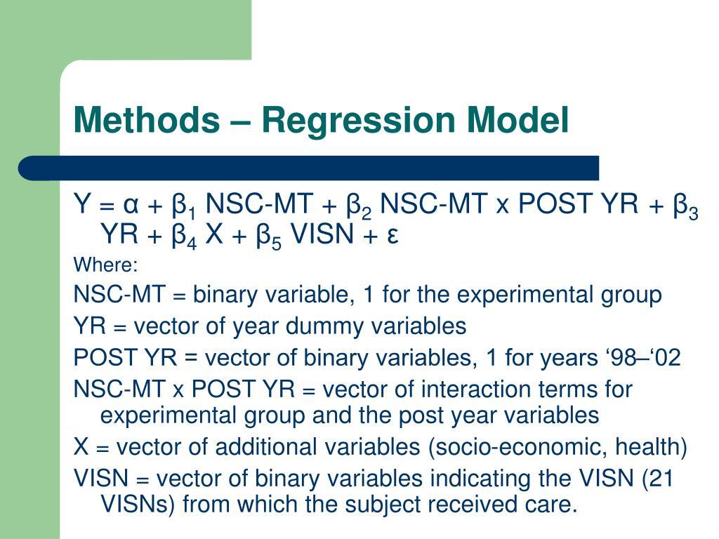 Methods – Regression Model