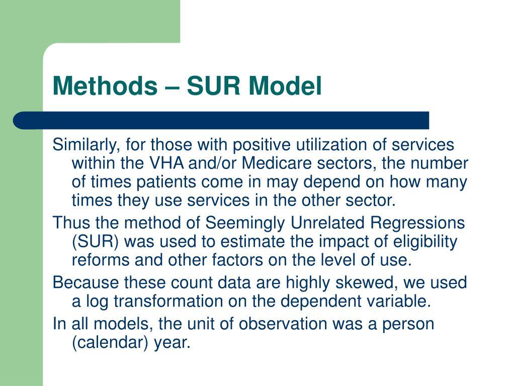Methods – SUR Model