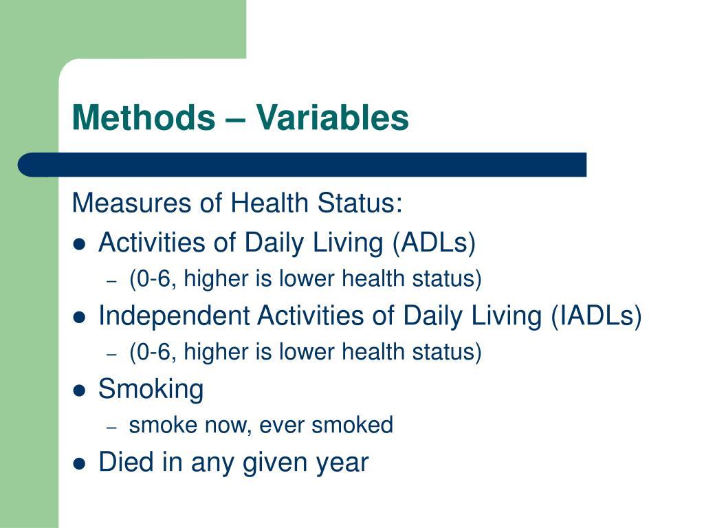 Methods – Variables