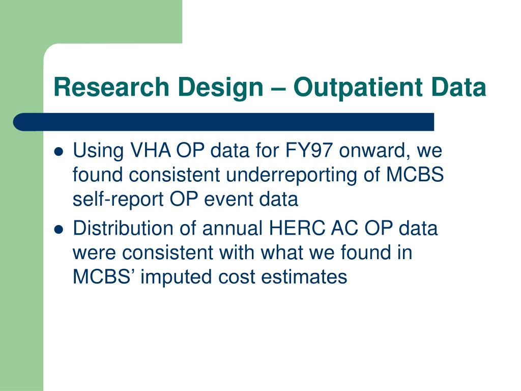 Research Design – Outpatient Data