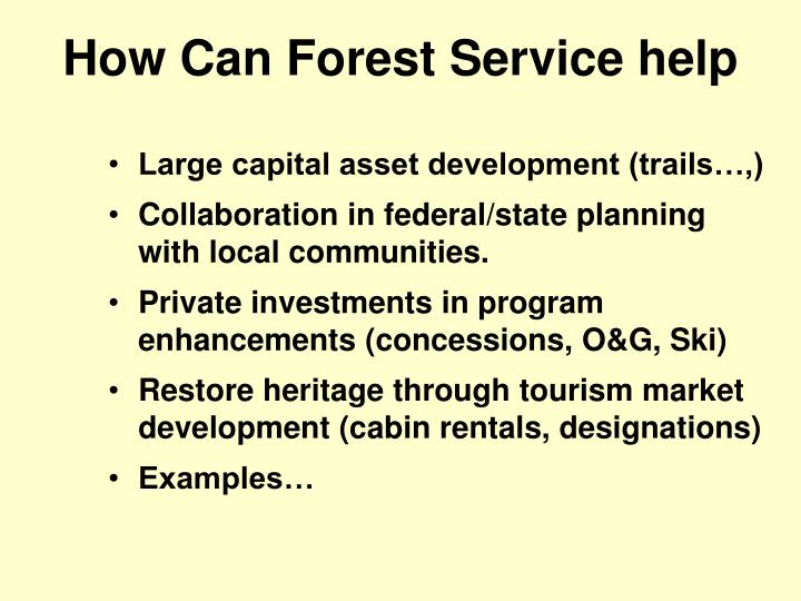 How Can Forest Service help