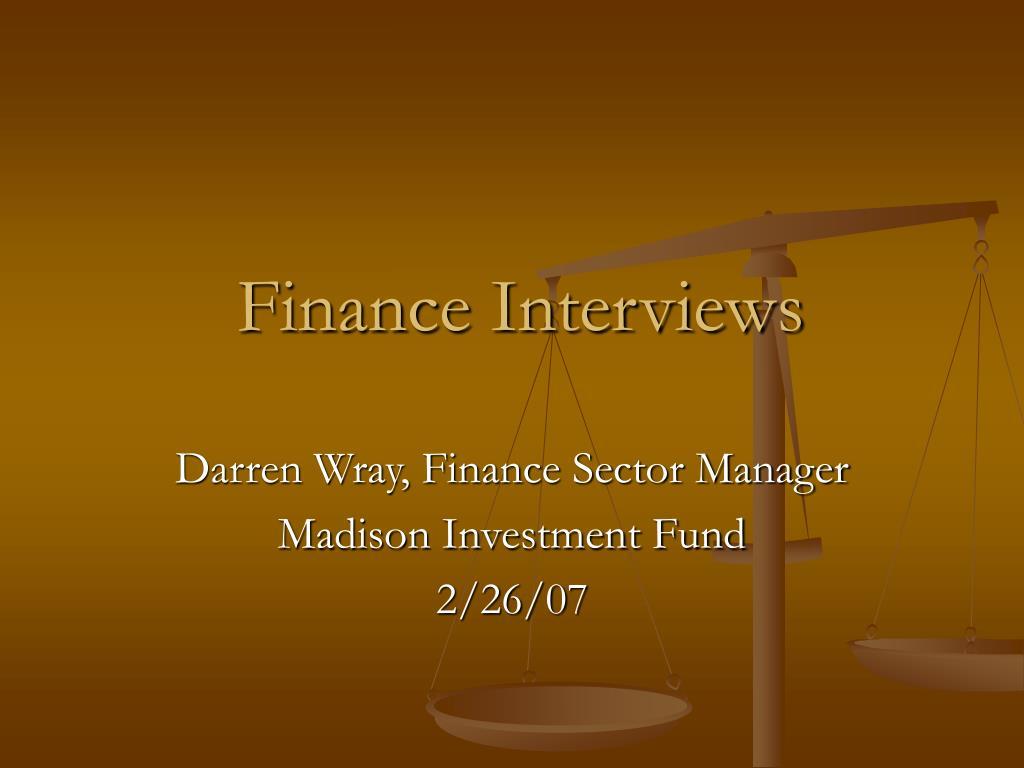 finance interviews