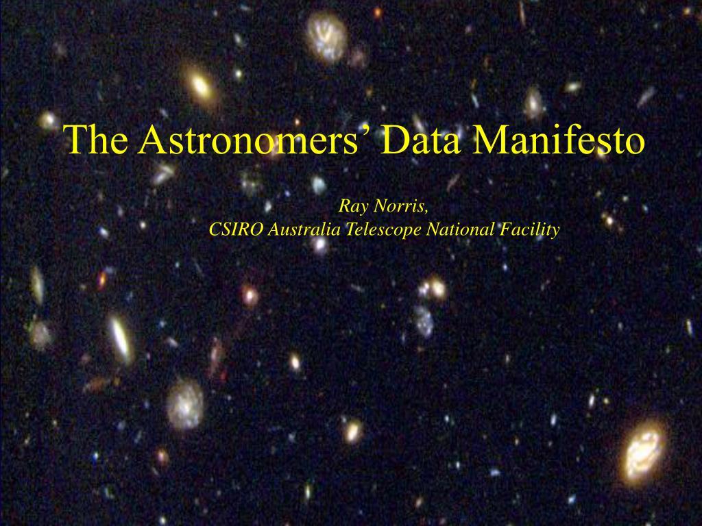 the astronomers data manifesto