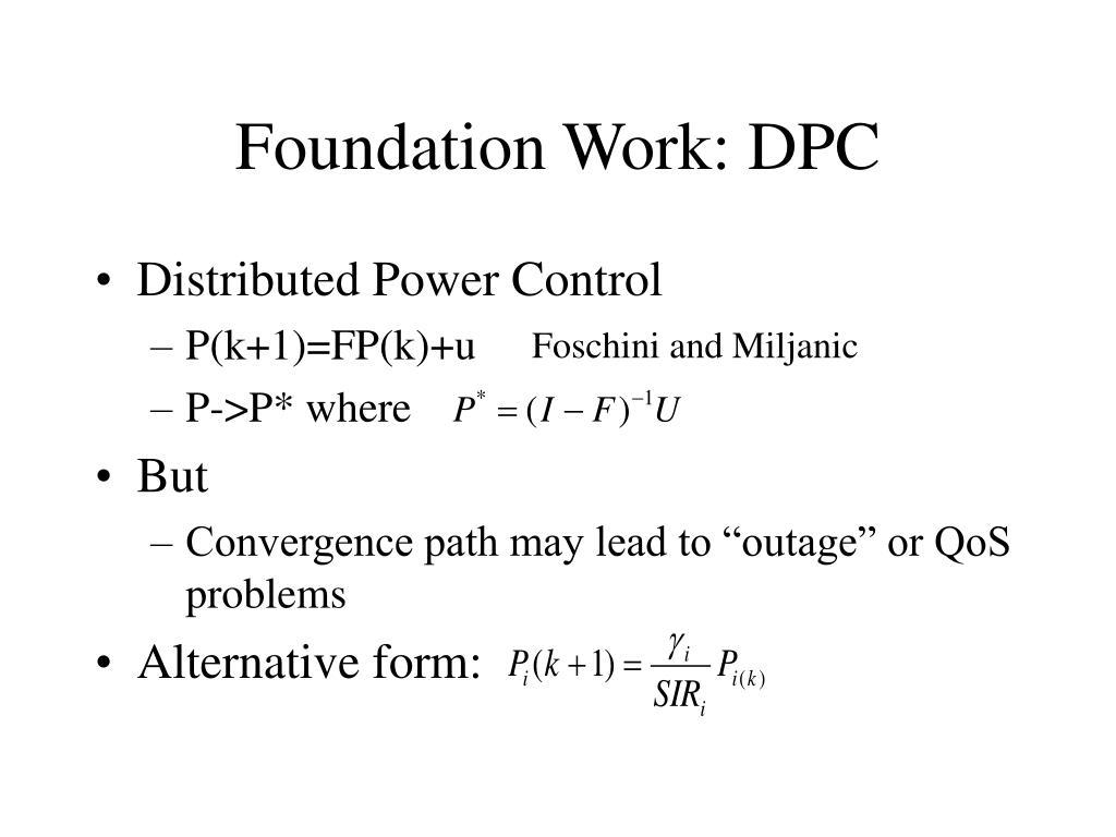 Foundation Work: DPC