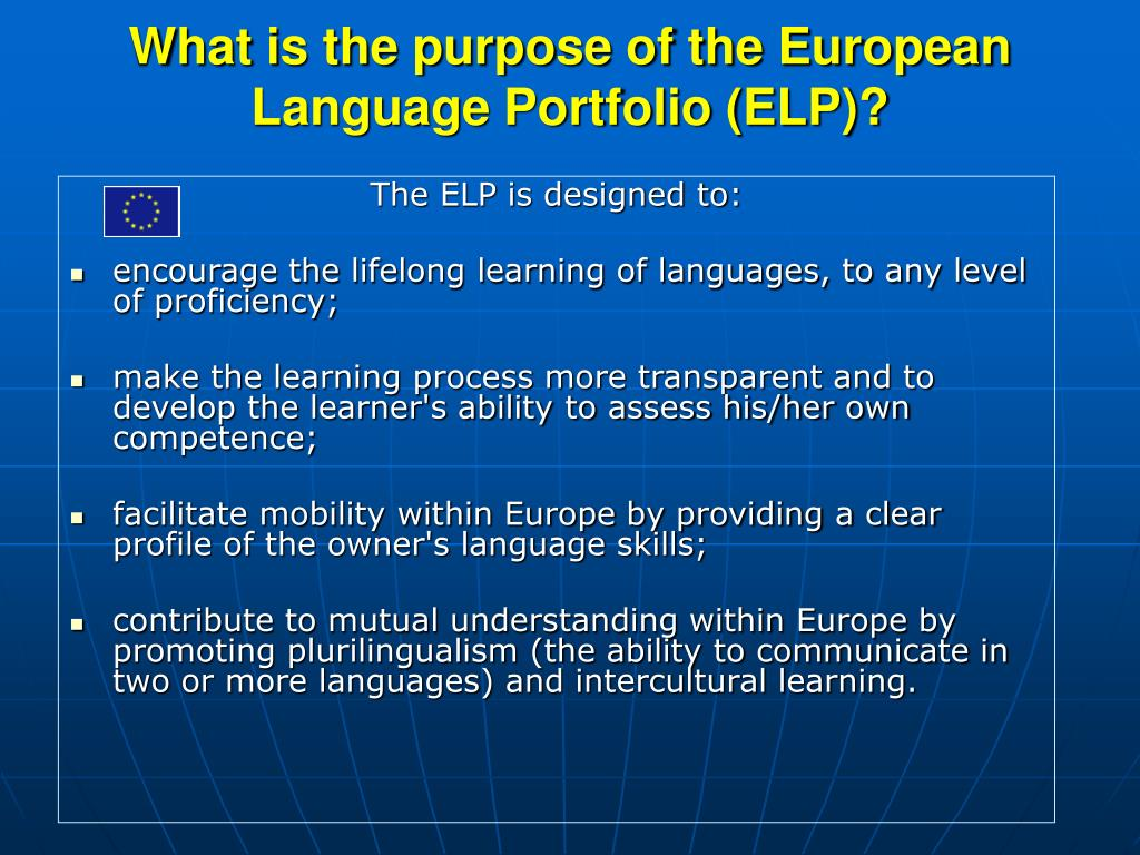 What is the purpose of the European Language Portfolio (ELP)?