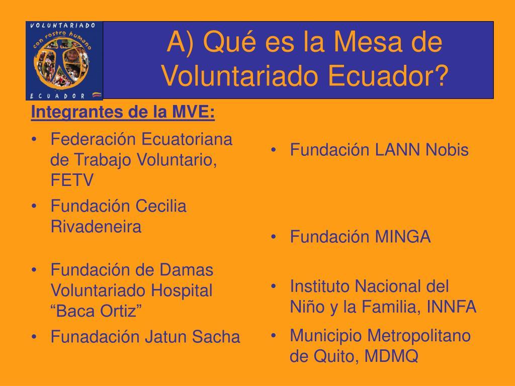 A) Qué es la Mesa de Voluntariado Ecuador?