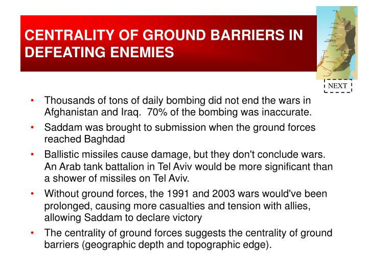 CENTRALITY OF GROUND BARRIERS IN DEFEATING ENEMIES