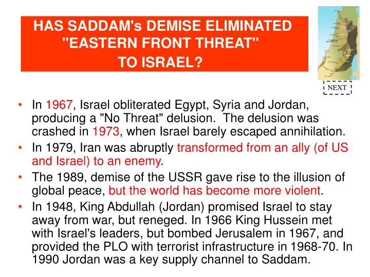 "HAS SADDAM's DEMISE ELIMINATED ""EASTERN FRONT THREAT"""