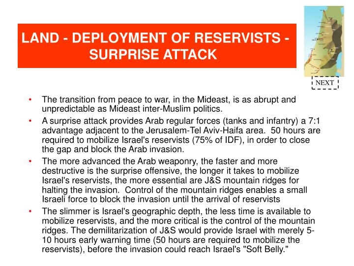 LAND - DEPLOYMENT OF RESERVISTS - SURPRISE ATTACK