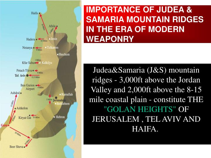 IMPORTANCE OF JUDEA & SAMARIA MOUNTAIN RIDGES IN THE ERA OF MODERN WEAPONRY
