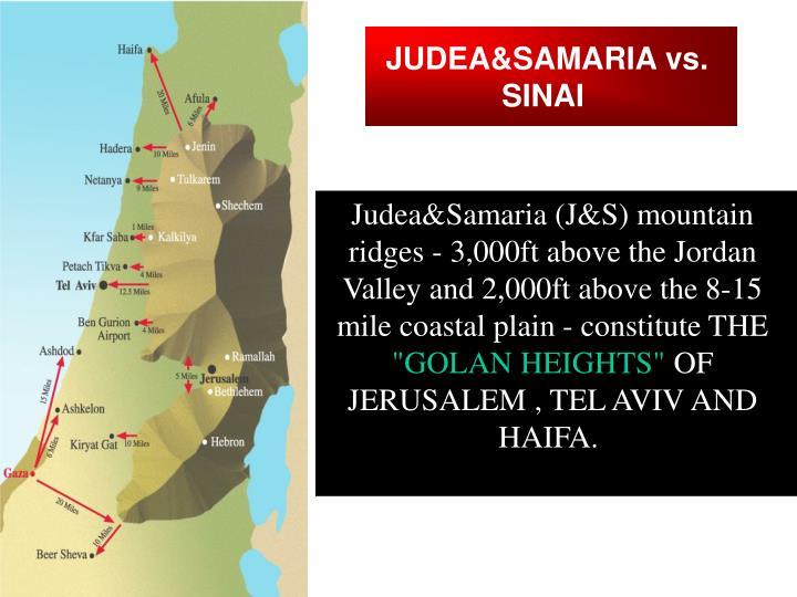 JUDEA&SAMARIA vs. SINAI