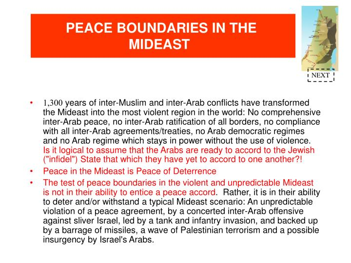 PEACE BOUNDARIES IN THE MIDEAST