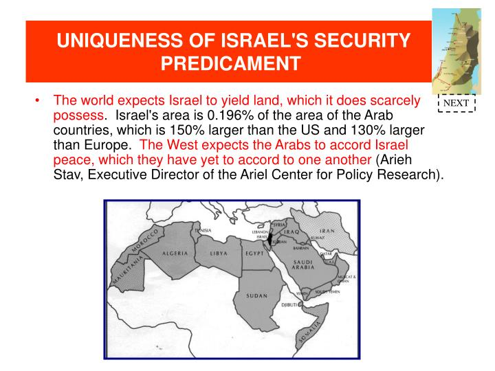 UNIQUENESS OF ISRAEL'S SECURITY PREDICAMENT