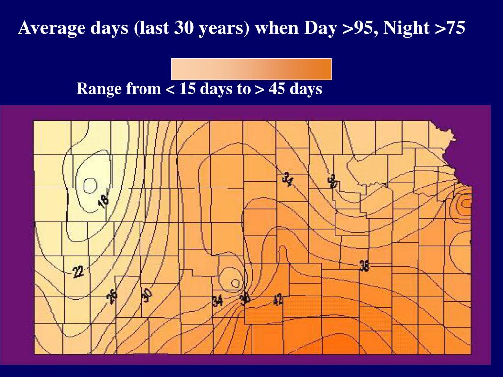 Average days (last 30 years) when Day >95, Night >75