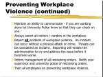 preventing workplace violence continued