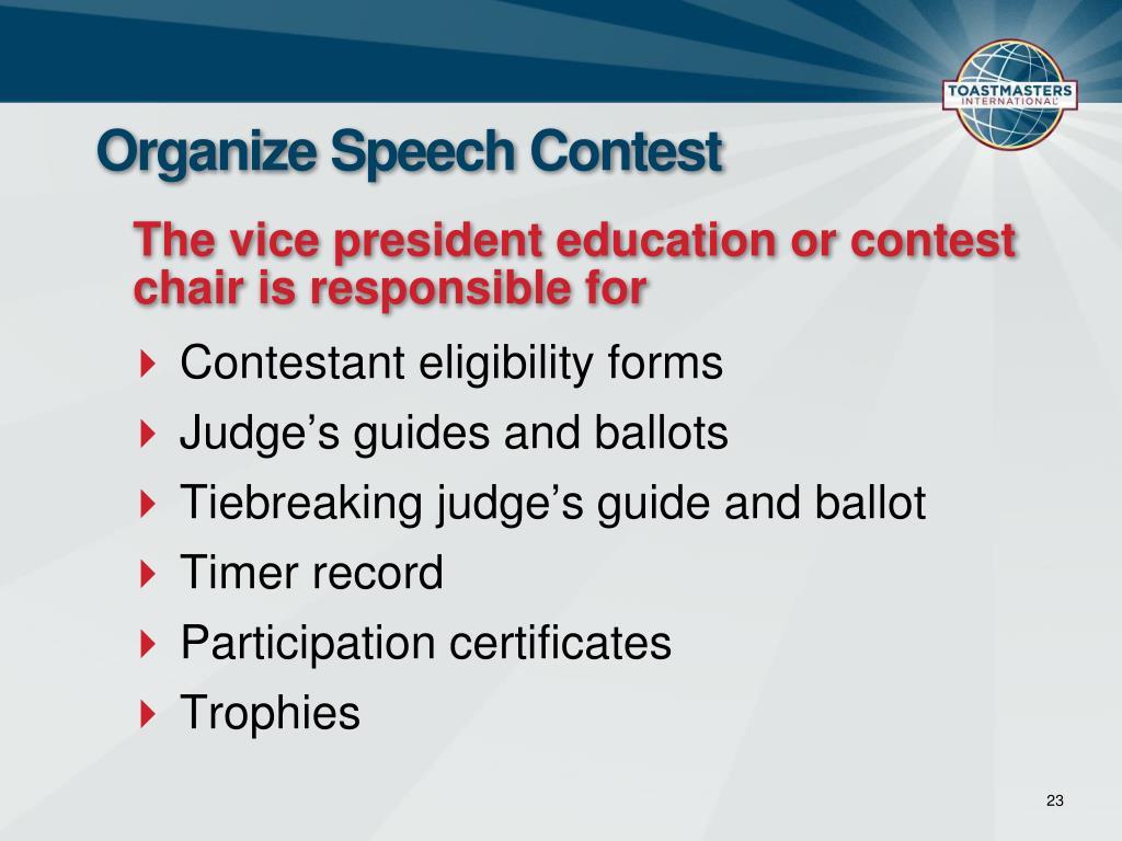 Organize Speech Contest