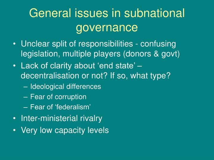 General issues in subnational governance