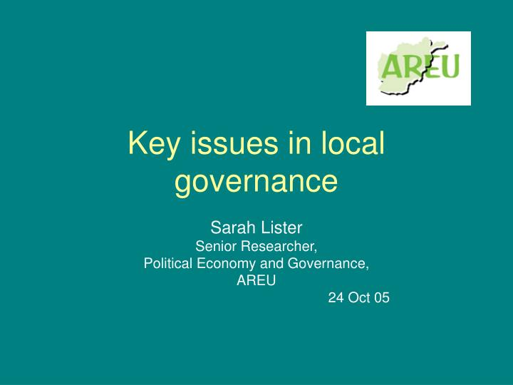 Key issues in local governance
