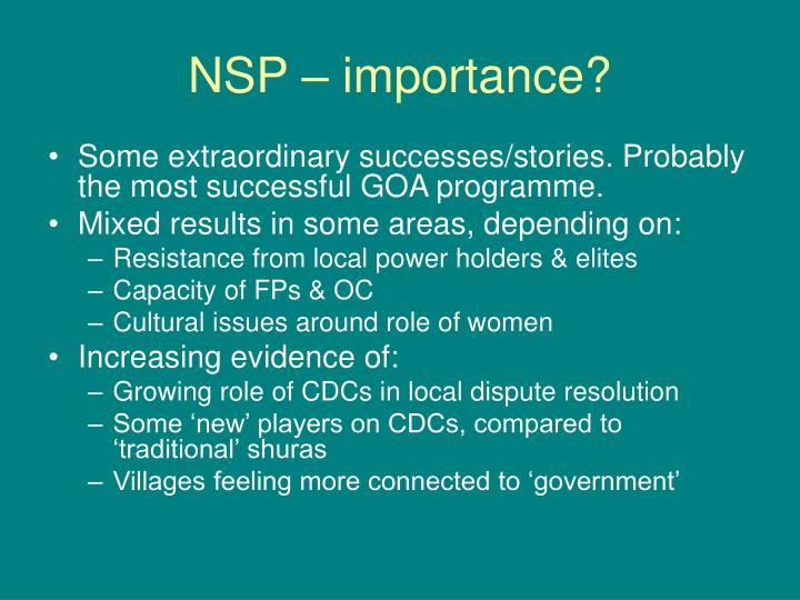 NSP – importance?