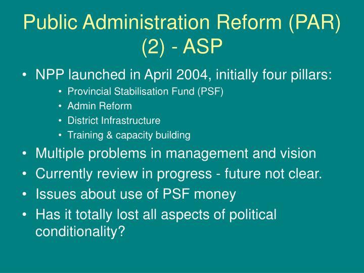 Public Administration Reform (PAR) (2) - ASP