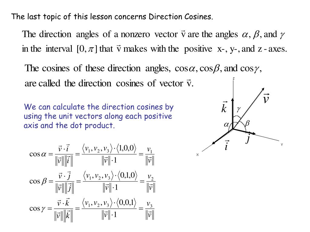 The last topic of this lesson concerns Direction Cosines.