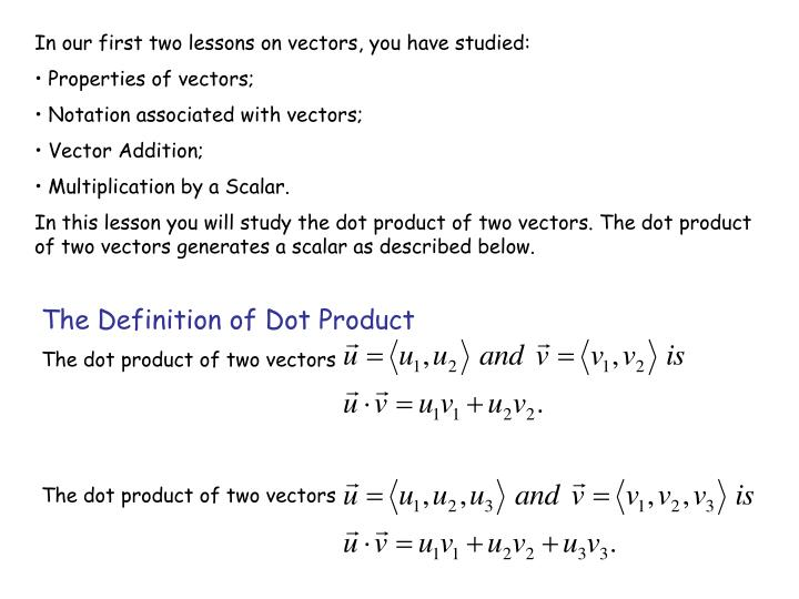 The Definition of Dot Product
